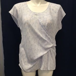 a.n.a size XL blue and white wrap top